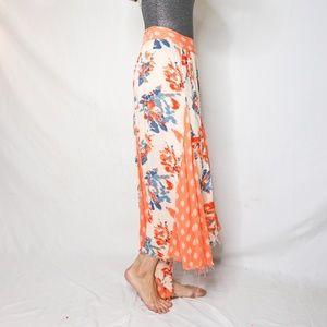 FREE PEOPLE Multi Floral Print Maxi Skirt Raw 1376